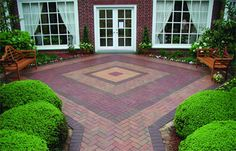 Practical and pleasing: Using patterns in your patio and walkway design. - Pine Hall Brick, Inc. Concrete Paver Patio, Clay Pavers, Brick Pavers, Paver Patterns, Paving Pattern, Brick Design, Patio Design, Paver Designs, Building A Patio