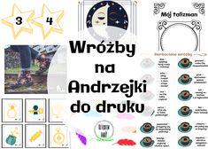 Wróżby i zabawy andrzejkowe dla dzieci #andrzejki Diy For Kids, Harry Potter, Templates, Map, Education, Halloween, Origami, Ideas, Therapy