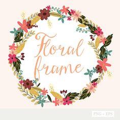 Floral Frame - PNG Files - EPS Files - Bouquets - Floral - Digital Clip Art Set