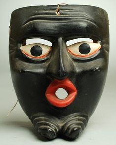 Negrito Mask from Michoacán, Mexico. Original hand painted and lacquered surface. Circa 1940's.