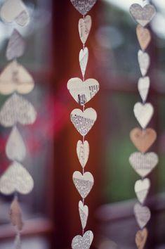 Vintage heart garland at an Irish wedding