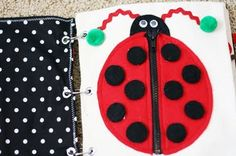 Quiet Book Ideas - Zipper lady bug with velcro spots