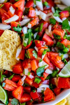 Pico de Gallo is a Mexican salsa with tomatoes, onions, jalapeno, cilantro, and lime juice. Humble ingredients come together to make the best appetizer! Mexican Appetizers, Healthy Appetizers, Mexican Food Recipes, Ethnic Recipes, Healthy Dips, Mexican Dishes, Corn Dip, Quick Recipes, Light Recipes