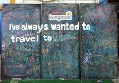 Chalk board + participatory art = lots of sharing and photos
