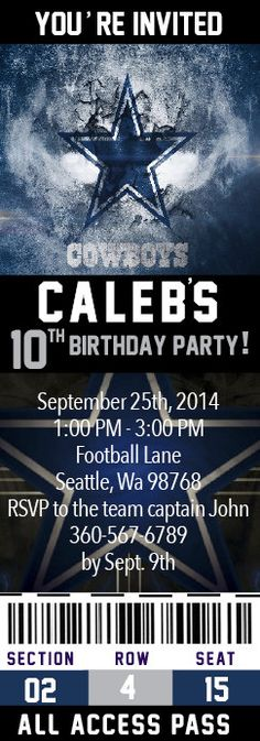 Dallas Cowboy Dallas Cowboy Birthday Invitation by Onthegoprints