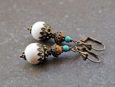 Earrings, antique bronze