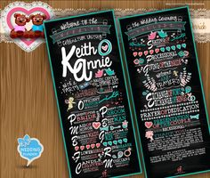 Custom Wedding Program Rustic chic chalk board typographic style Creative classic Typography card clipart - printable file (w0011) by TeeshaDerrick at http://www.etsy.com/shop/TeeshaDerrick
