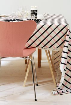 good combinations with marimekko patterns, bedlinen, marimekko, pink kitchen chair, Linen Bedding, Bedding Sets, Bed Linen, Pink Furniture, Pastel House, Romantic Homes, Kitchen Chairs, Spring Summer, Summer 2016