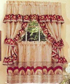 Sunflower is a cute country theme complete set. The set includes one pair of tailored tiers, one ruffled topper with attached valance, and one pair of tiebacks, a great value.  #Complete #Kitchen #Curtains #Sets