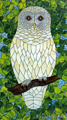 """""""Gaia - Goddess of Nature"""" a stained glass mosaic barred owl by Kasia Polkowska"""