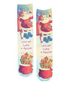 LaDeDa Santa Selfie Holiday Crew Socks at Amazon Women's Clothing store: