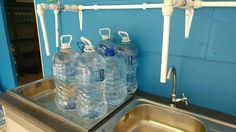 Examples of water bottles that consumers can bring for refilling. We have quick customer service and are very friendly.