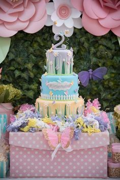 Love this cake at a butterflies and flowers birthday party! See more party ideas at CatchMyParty.com!