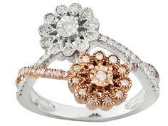 .38ctw Round Diamond, Rhodium & 14k Rose Gold Over Sterling Silver Flower Ring