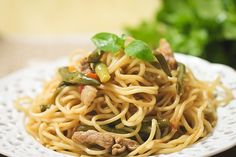 Steamed noodles — a favorite family recipe..I'd leave out the pork or trade for chicken.