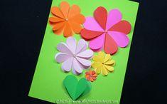 carte fleur fete des meres bricolage papier avec coeurs