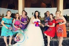 Bridesmaids in Mexican Peasant Dresses from WeddingBee