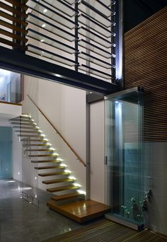 Suspended staircase and sceen