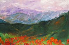 """Mountain Meadow Morning Original impasto oil painting - Janice Trane Jones"" Again I am looking at the broad application of paint, how the painting lacks intricate detail, but looks wonderful despite this. I feel like working away from my habit of little intricate paintings will definitely be a learning curve."