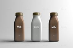 Buy Milk Bottle Packaging Mock-Up by Zeisla on GraphicRiver. 3 Psd Files (One Bottle, Multiple Multiple Bottles White and Chocolate Milk Option Changeable Bottle Cap. Juice Packaging, Beverage Packaging, Coffee Packaging, Bottle Packaging, Bottle Mockup, Brand Packaging, Chocolate Packaging, Coffee Business, Aesthetic Coffee