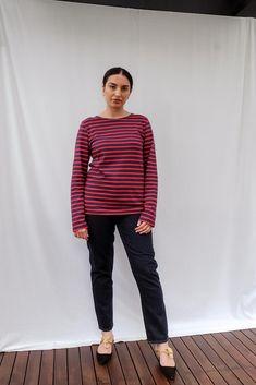 Minquiers Modern Breton Striped Top Breton Top, Saint James, Red Stripes, Size Model, Slim, Modern, How To Wear, Cotton, Pants