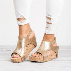 The gorgeous Peep Toe PU Blocking Hook-Loop Wedge Sandals will stun every girl. The shoe will add extra elegance to your wholesale look. Wedge Sandals, Wedge Shoes, Heeled Sandals, Sandals Platform, Platform Wedge, Espadrille Wedge, Shoes Sandals, Flat Lace Up Shoes, Casual Heels