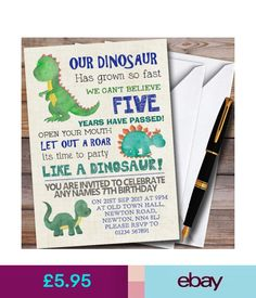 Greeting Cards & Invitations Party Like A Dinosaur Personalized Children's Birthday Party Invitations & Garden Dinasour Birthday, Dinosaur Birthday Party, 4th Birthday Parties, 3rd Birthday, Birthday Ideas, Dinasour Party, Happy Birthday, Superhero Party Invitations, Birthday Party Invitations