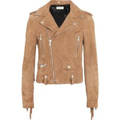 Saint Laurent Fringed suede biker jacket (220,905 DOP) ❤ liked on Polyvore featuring outerwear, jackets, coats, coats & jackets, moto biker jacket, beige moto jacket, suede jacket, suede fringe jacket and biker jackets