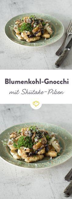 Mit diesem Rezept bereitest du die italienischen Lieblinge aus Blumenkohl zu. Zusammen mit Shiitake-Pilzen und Kräutern ein schön leichtes Mittagessen.