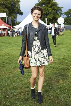 Floral dress and leather jacket festival look #streetstyle at 50th Festival