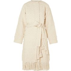 Ulla Johnson Amara belted cotton bouclé-tweed coat (€440) ❤ liked on Polyvore featuring outerwear, coats, cream, belted coat, summer coat, ulla johnson, cotton coat and tweed coat