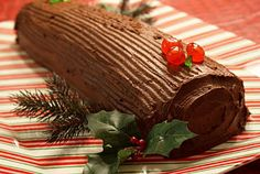 A Busy Nest: 12 Days of Christmas Sweets: Buche de Noel (Chocolate Yule Log) Christmas Sweets, 12 Days Of Christmas, Christmas Ideas, Log Cake, Yule Log, Chocolate, Menu, Cooking Recipes, Holiday