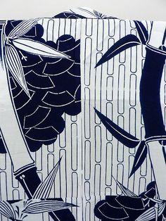 White Yukata, Clouds, Fan and Bamboo Pattern / 白地 愛の雲取り扇面笹竹柄 浴衣   【リサイクル着物・アンティーク着物・帯の専門店 あい山本屋】#Kimono #Japan