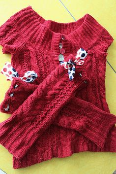 leg warmers out of old sweaters- I've done this without the ribbons.