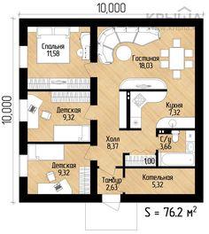 Планировка дома 8 на 8 одноэтажный фото Small House Floor Plans, Cabin House Plans, House Layout Plans, Bungalow House Plans, Bungalow House Design, Craftsman House Plans, Small House Design, Modern House Plans, Modern Houses