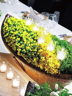 春の気配をバスケットに詰め込んで ゲストをおもてなしする会場装花カタログ2013 ザ・ウエディング