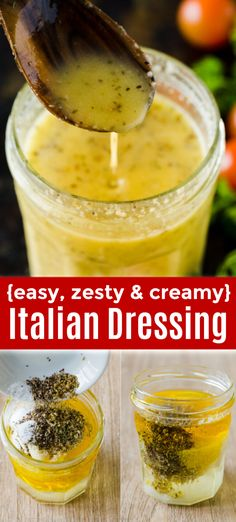 Learn how to make zesty and creamy Italian Dressing! This is the best homemade salad dressing and it's so easy - you just shake up the ingredients in a mason jar. dressing Homemade Italian Dressing (the Best I've Tried) Italian Dressing Recipes, Italian Dressing Pasta Salad, Homemade Italian Dressing, Best Salad Dressing, Pasta Salad Italian, Salad Dressing Recipes, Salad Recipes, Creamy Salad Dressing, Italian Recipes