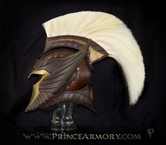 Spartan Thor Leather Helmet - Latest completed custom project. Our client for this requested three themes to be implemented:  A past work called the Archangel Helmet, a Thor helmet, and a spar...