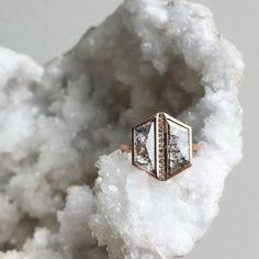 one of a kind hexagon diamond ring in rose gold :: Alexis Russell