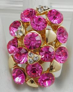 Pink Oval Rhinestone Ring/Gold/Clear/Sparkly/Spring/Summer
