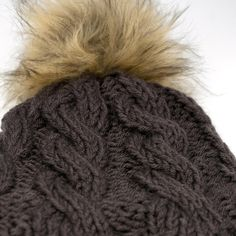 0843d752f7f Large Non Wool Beanie in Gray Brown with Satin Lining   2 Free Fur Pom. Etsy
