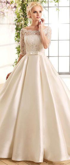 Gorgeous Lace & Satin Bateau Neckline A-Line Wedding Dresses With Belt