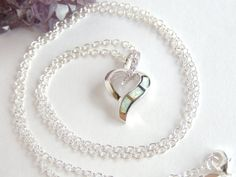 Opal Heart Necklace Heart Necklace Love Necklace by AlwaysCrafty77, $30.00