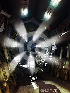 Cosmonaut with helmet and gun, trapped by his hunter in futuristic corridors.