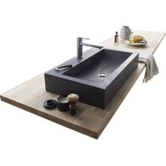 Vasque à poser basalte l.70 x P.40 cm gris anthracite Edith | Leroy Merlin
