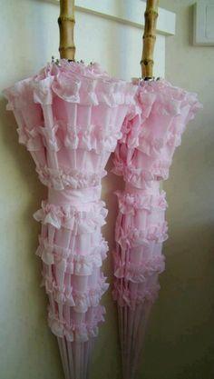 Fluffy pink umbrellas