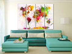 Large Colorful Watercolor World Map Canvas Print, Modern world map