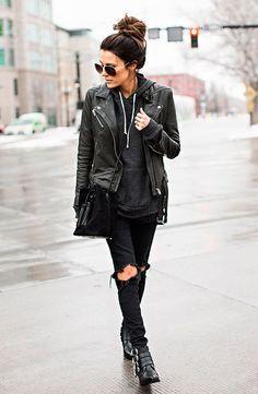 street style moletom com jaqueta de couro