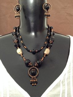 Lava and Feldspar Necklace and Earring Set by WirednStrung on Etsy
