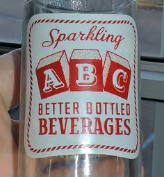 1927~Vtg Clear Glass White Red ACL Label Sparkling ABC Soda Bottle Reading PA**